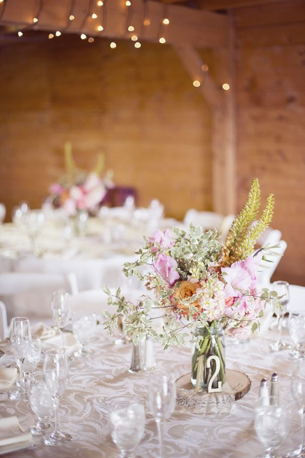 barn wedding tablescape // photo by Dreamlove Weddings, flowers by Petal Floral Design // http://ruffledblog.com/massachusetts-orchard-wedding