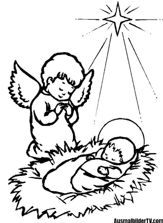 ausmalbilder weihnachten engel  jesus malvorlagen bibel