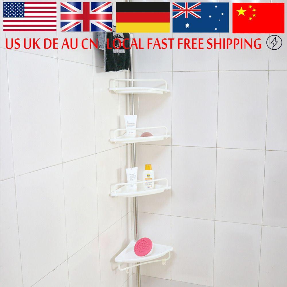 Bathroom Corner Shelf Rack Heavy Duty Storage Tray Wall Sucker Edge ...