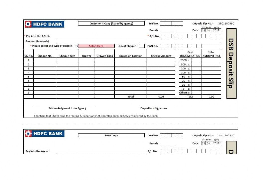 Bank Deposit Slips Template In 2020 Certificate Of Deposit