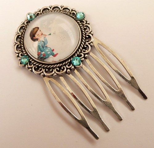 Small hair comb in silver with Children motif, girls hair jewelry   Jewelry-treasure-chest - Accessories on ArtFire