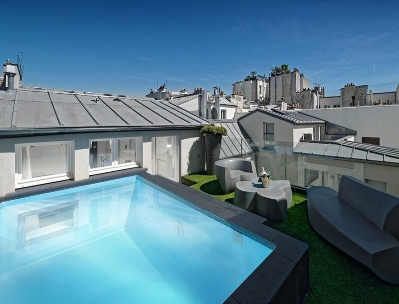 Suite avec piscine priv e l 39 h tel 1k paris jr gong for Hotel paris avec garage