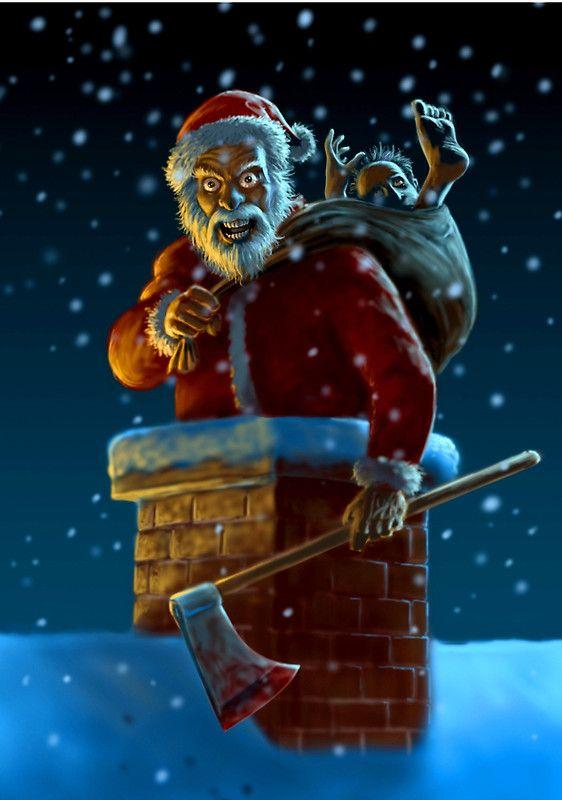 Psycho Santa By Paul Mudie Christmas Horror Art Creepy Christmas Christmas Horror
