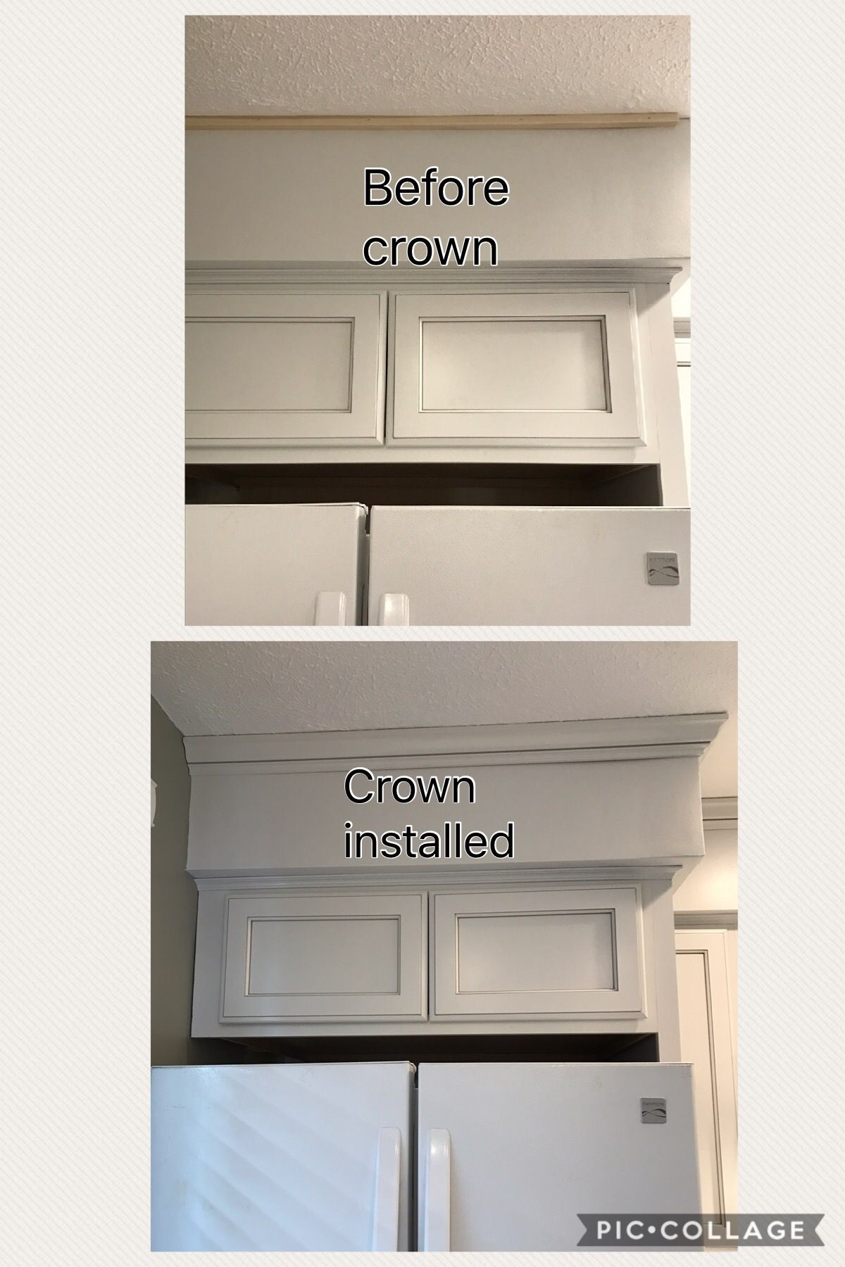 8 4 17 Before And After Of Crown Molding Above Fridge Kitchen Projects Kitchen Kitchen Remodel