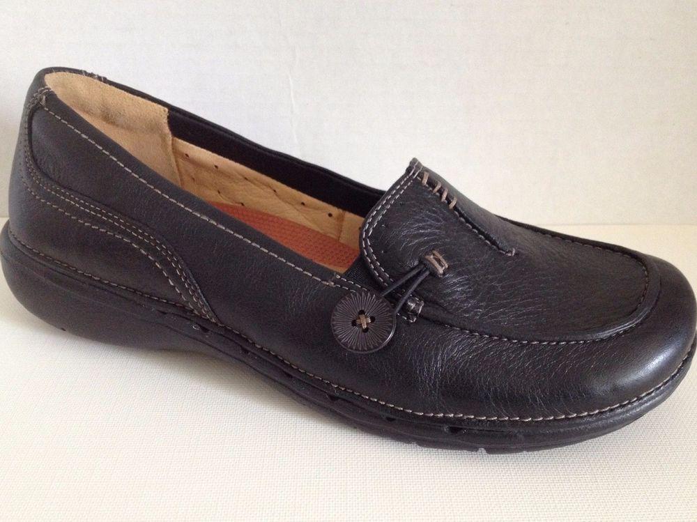 4e43b3a1291 Clarks Unstructured Shoes Womens Size 7 M Black Loafers 7M Un.Believable  87570…