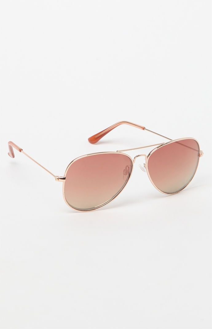 a76b5ca494 Rose Gold Round Aviator Sunglasses