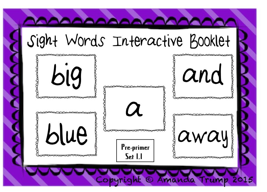 FREE Sight Words (a, and, away, big, blue) Interactive