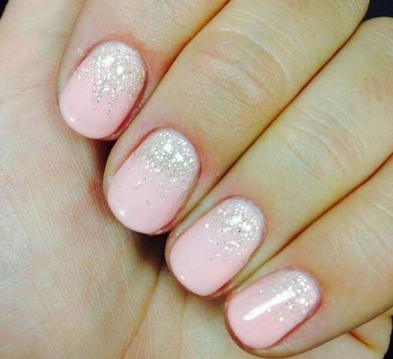 Short Light Pink Nails With White Glitter Accents Ladystyle