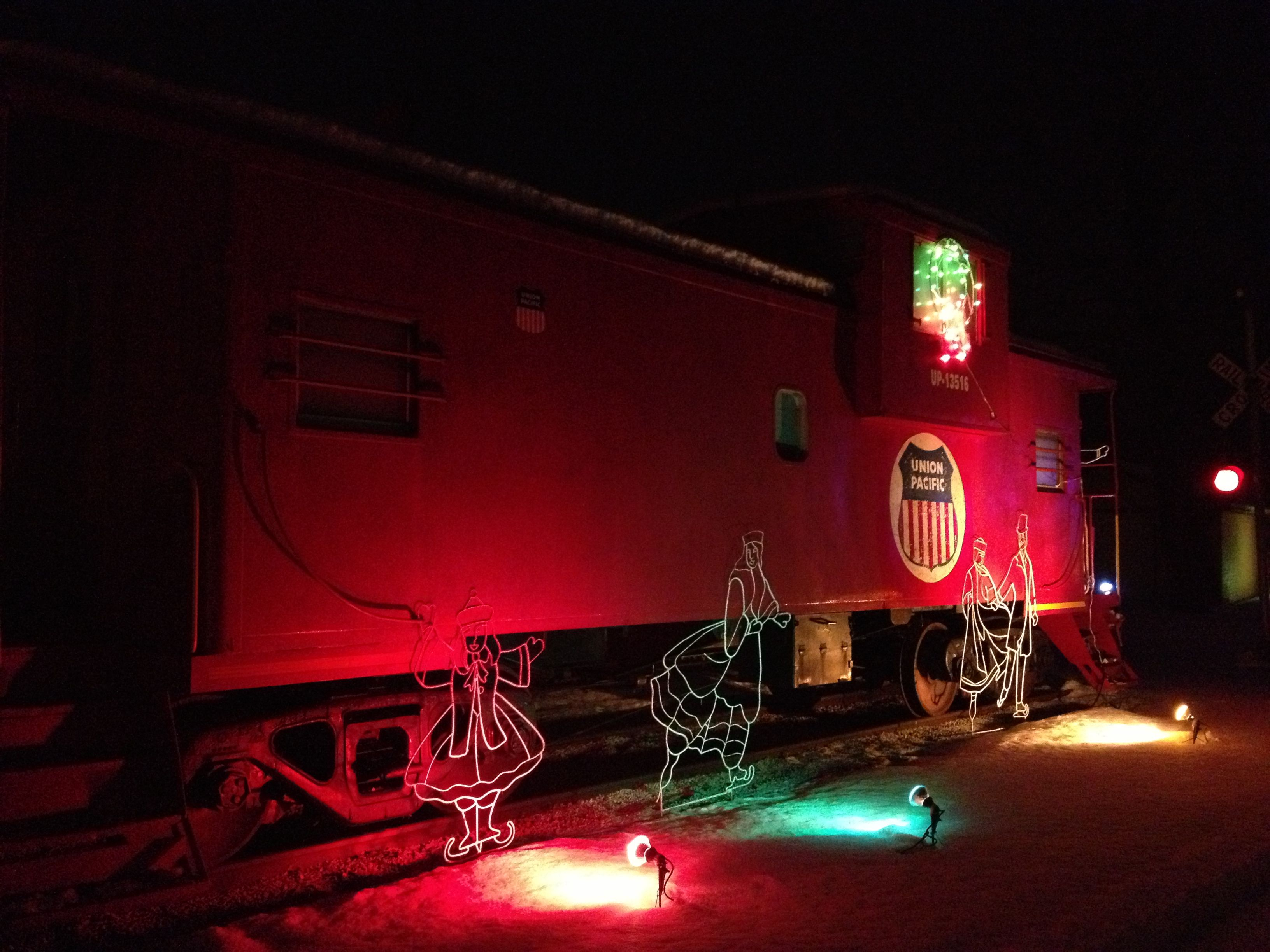 Union Pacific caboose at Eberhardt Park in Arthur Illinois, decorated for Christmas