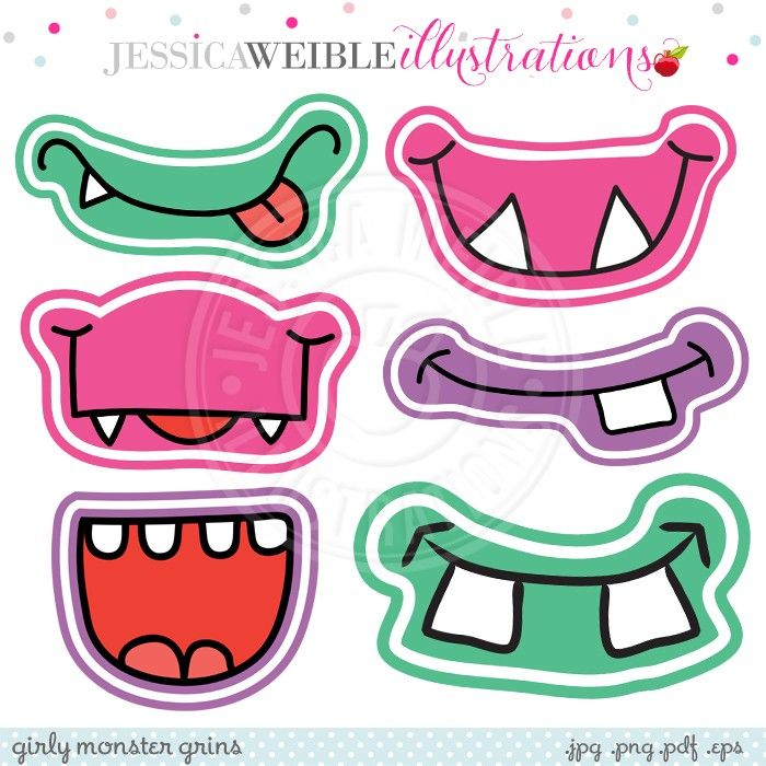 Monster Face Printable Clipart | Party | Pinterest | Vorlagen
