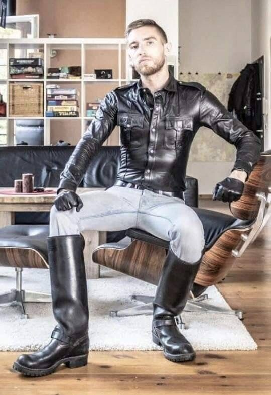 1) Tumblr | Mens leather clothing, Leather shirt, Denim