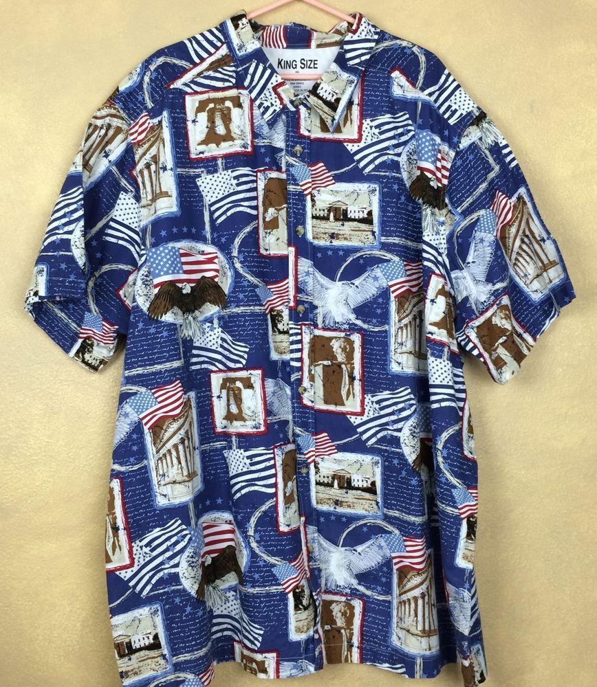 52fcf155748 King Size Blue Patriotic 4XL Casual Hawaiian Shirt USA Bald Eagle Liberty  Bell  KingSize  Hawaiian