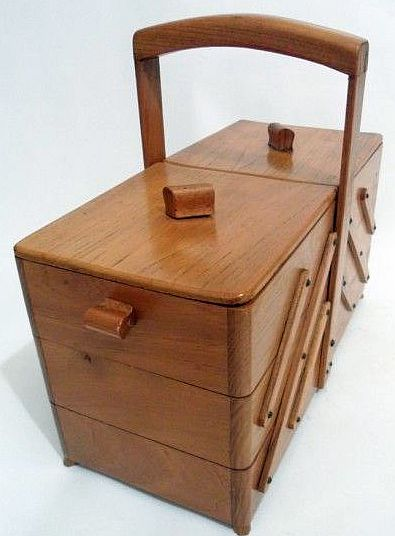 Wooden Sewing Box : wooden, sewing, Vintage, Cantilever, Wooden, Sewing, Circa, 1950s., Those.