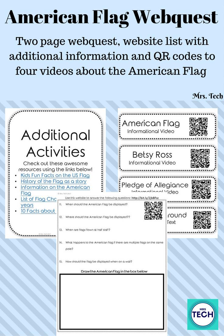American Flag Webquest Promoting Tpt Sellers Pinterest Qr
