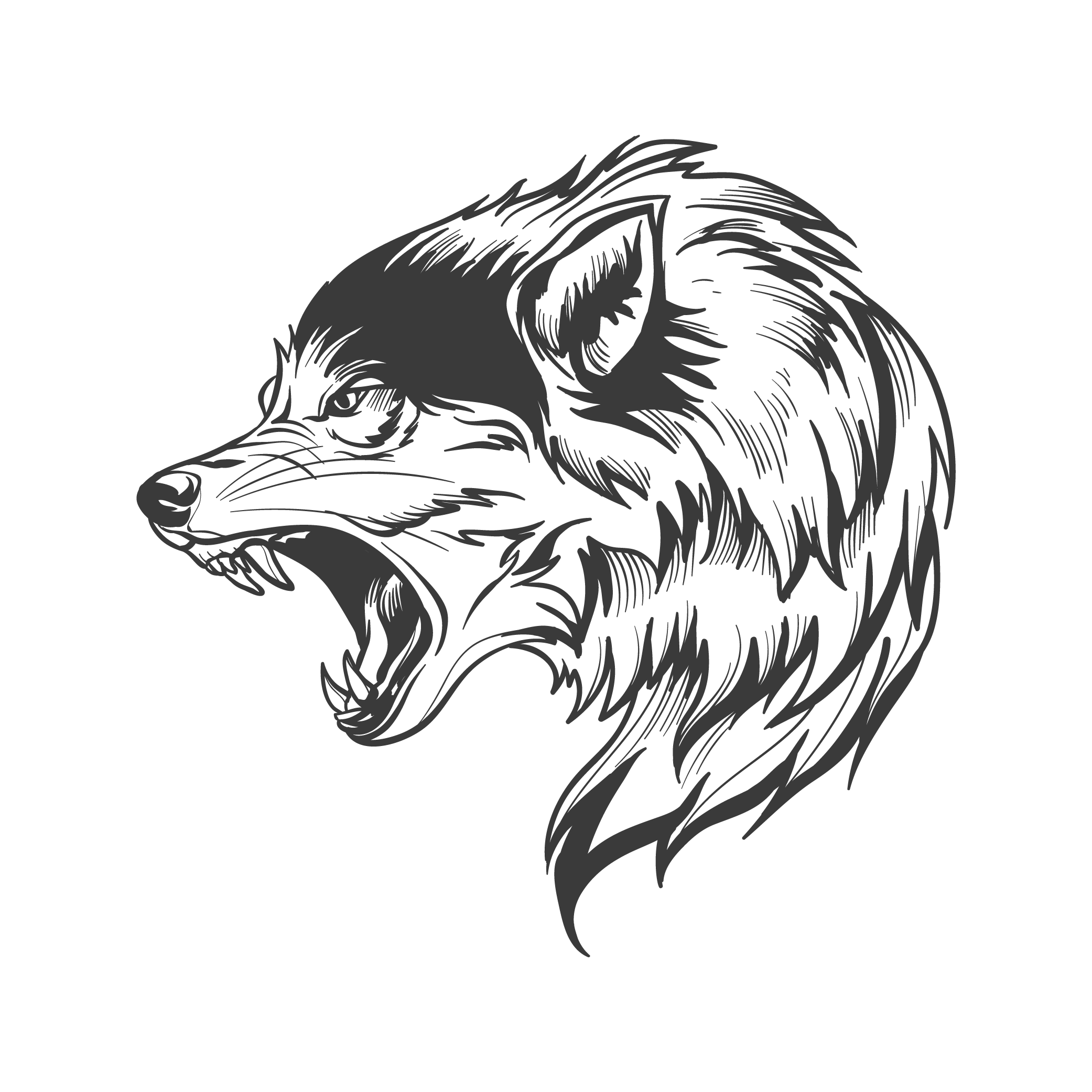 Pin by Hannah Baker on Vector, Tattoo | Wolf clipart, Wolf ...