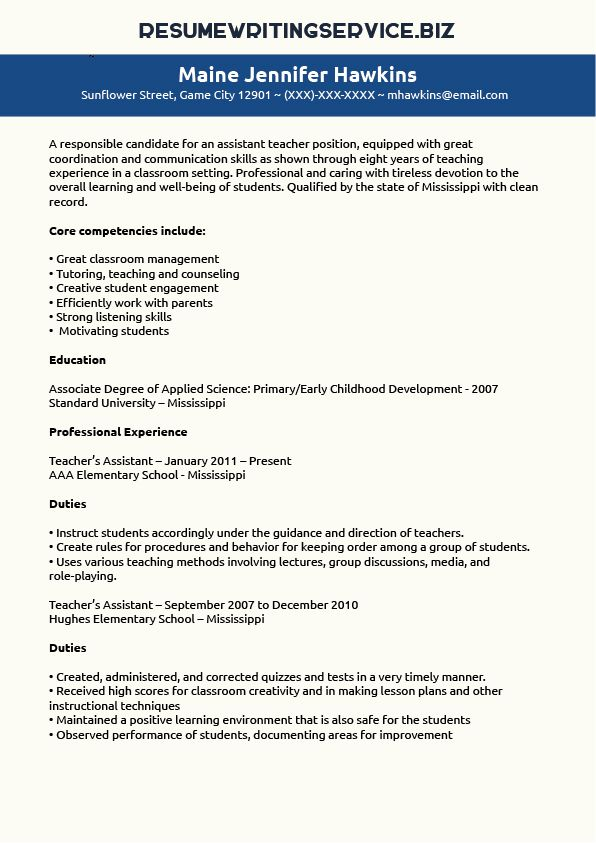 Teaching Assistant Resume Sample Student Career Pinterest - teachers assistant resume