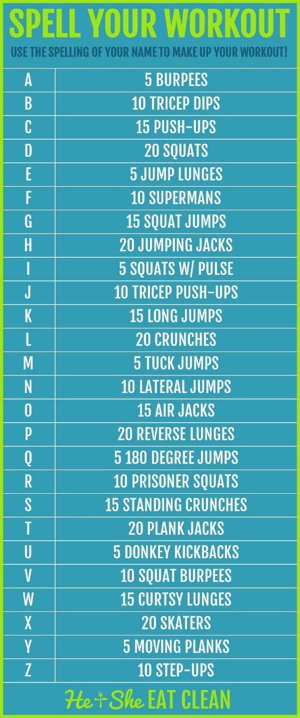 Use the spelling of your name, kids names, friends names, favorite city, etc to make up your workout...