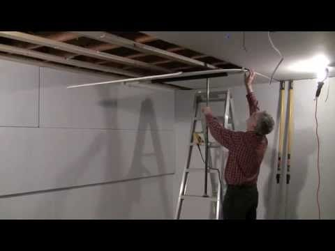 One Man Drywall Installation On Ceiling Youtube Drywall Installation Drywall Basement Ceiling