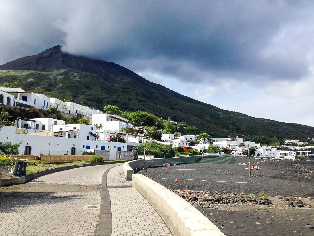 The town and black sand beach on Stromboli