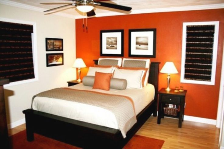 Colour One Wall Painted A Strong Colour Orange Wall Dark Wood Only One Coloured Cushion Bedroom Orange Blue Living Room Decor Orange Bedroom Decor