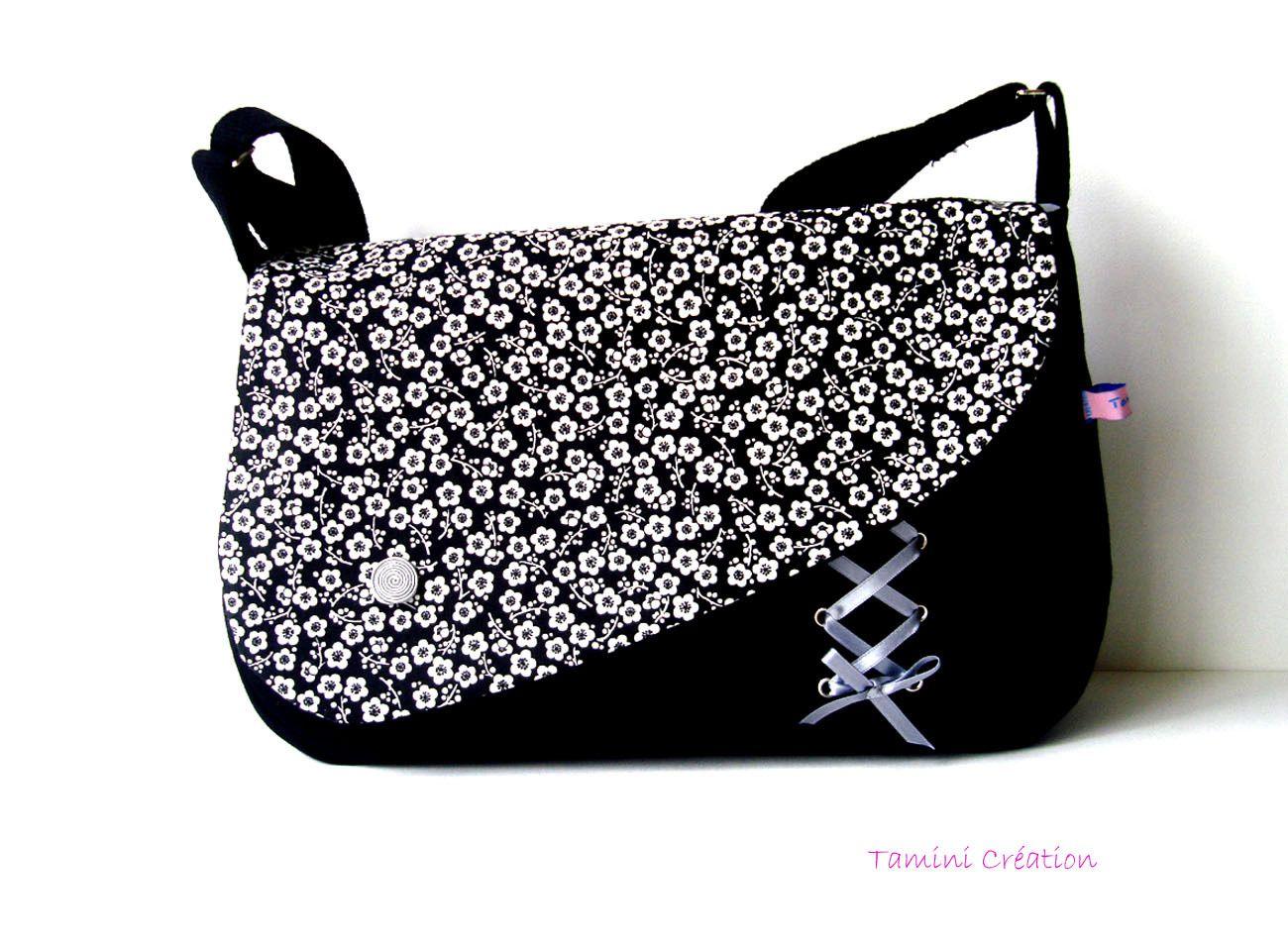 cb4bab4483 Sac besace, sac à main femme tissu japonais Hanaé : Sacs bandoulière par  tamini