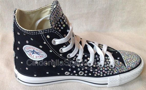 b80f2c6f85a0 Black Chuck Taylor High Top Crystal Rhinestone Converse Bridal Prom Romany  Shoes