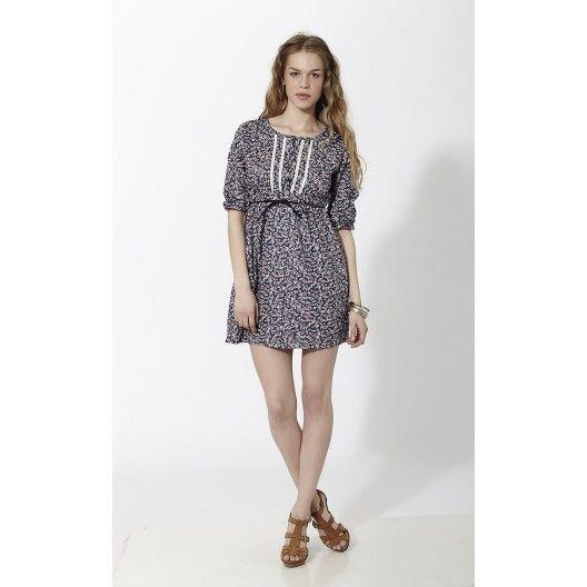 Vestido corto con estampado floral tipo liberty y puntillas en pecho Negro - Mauna Barcelona - fashion - moda