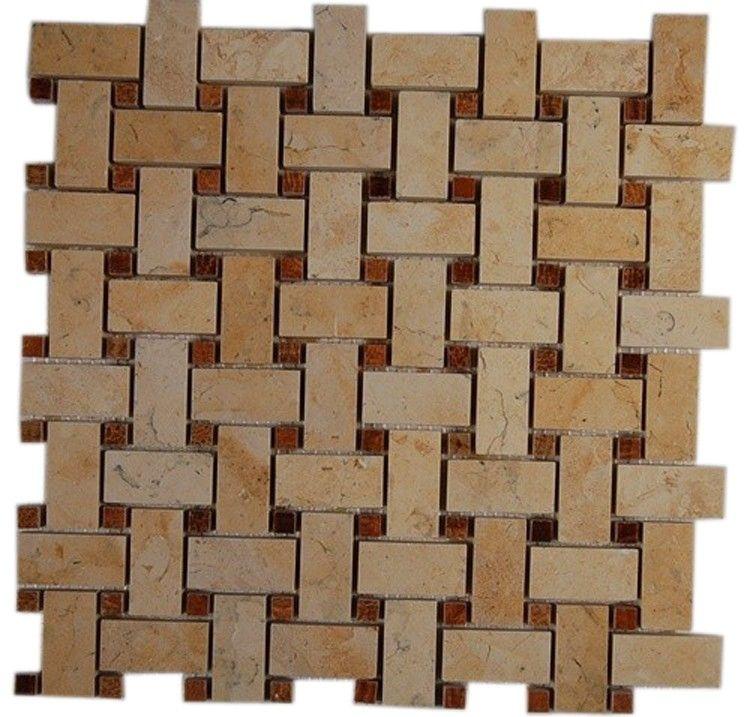 Basket Weave Jerusalem Gold With Wood Onyx Dot 1 2 X 1 2