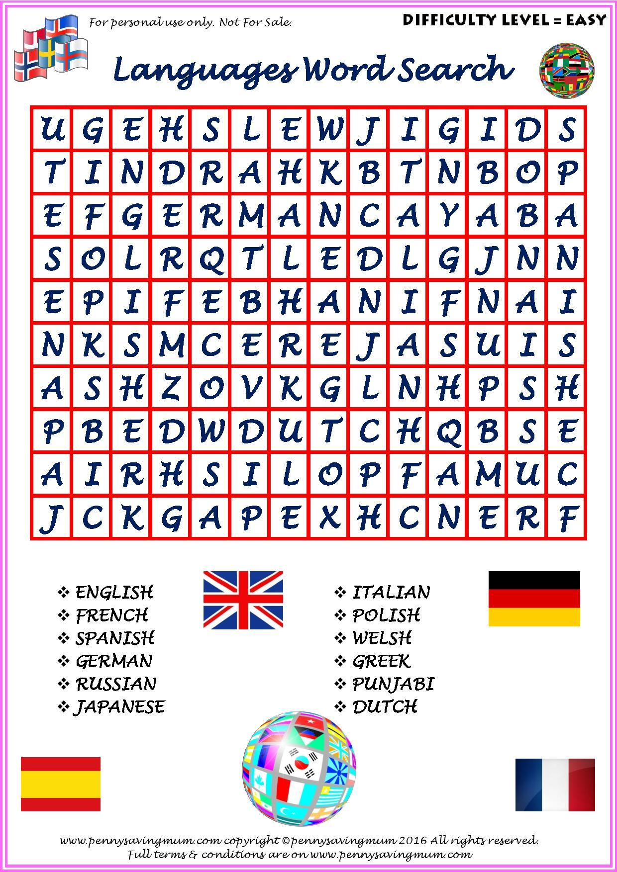 Word Search Languages Easy Version
