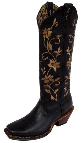 4c6ad32f50da Twisted X Womens Black Leather 16in Floral Steppin Out Cowboy Boots 6B     Check out the image by visiting the link.(This is an Amazon affiliate link  and I ...