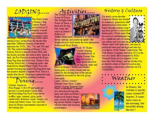 brochure examples for school project Google Search – Sample Travel Brochure