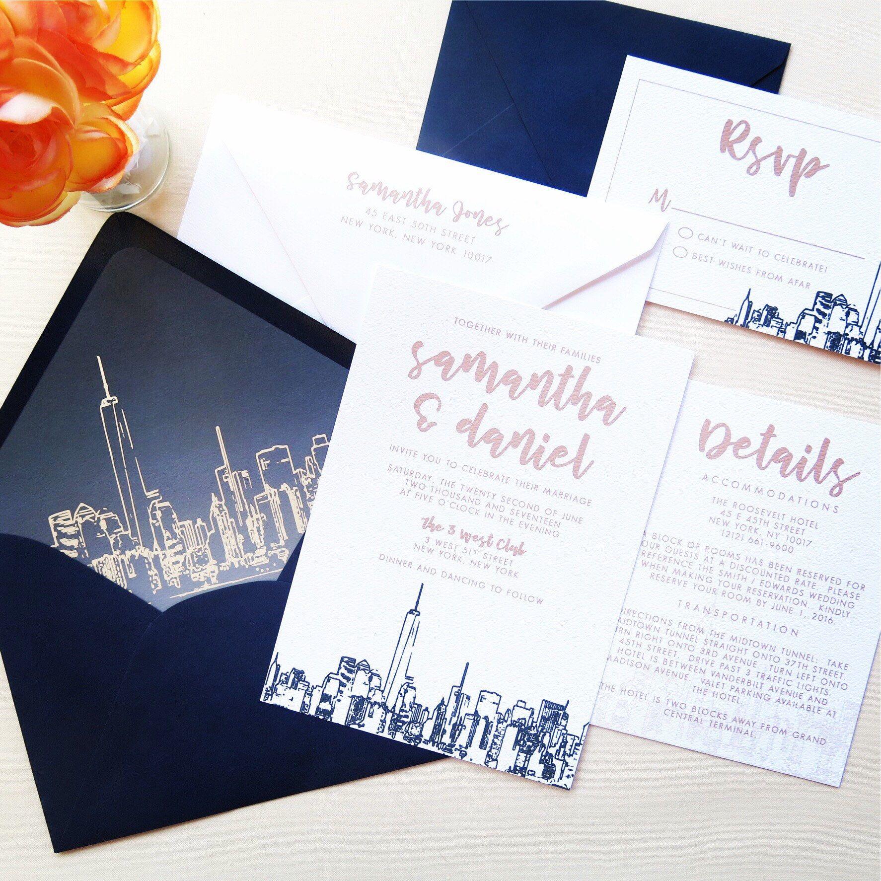 NYC Skyline Wedding Invitation Suite - Navy and Champagne Wedding ...