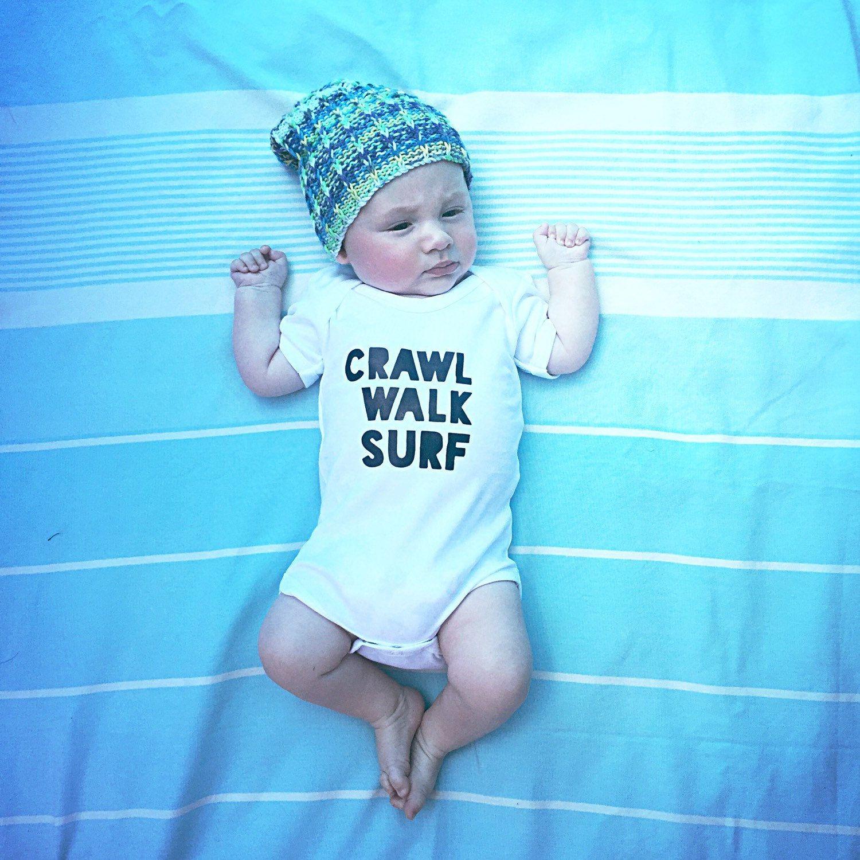 CRAWL WALK SURF cotton bodysuit babygrow surfer baby surf