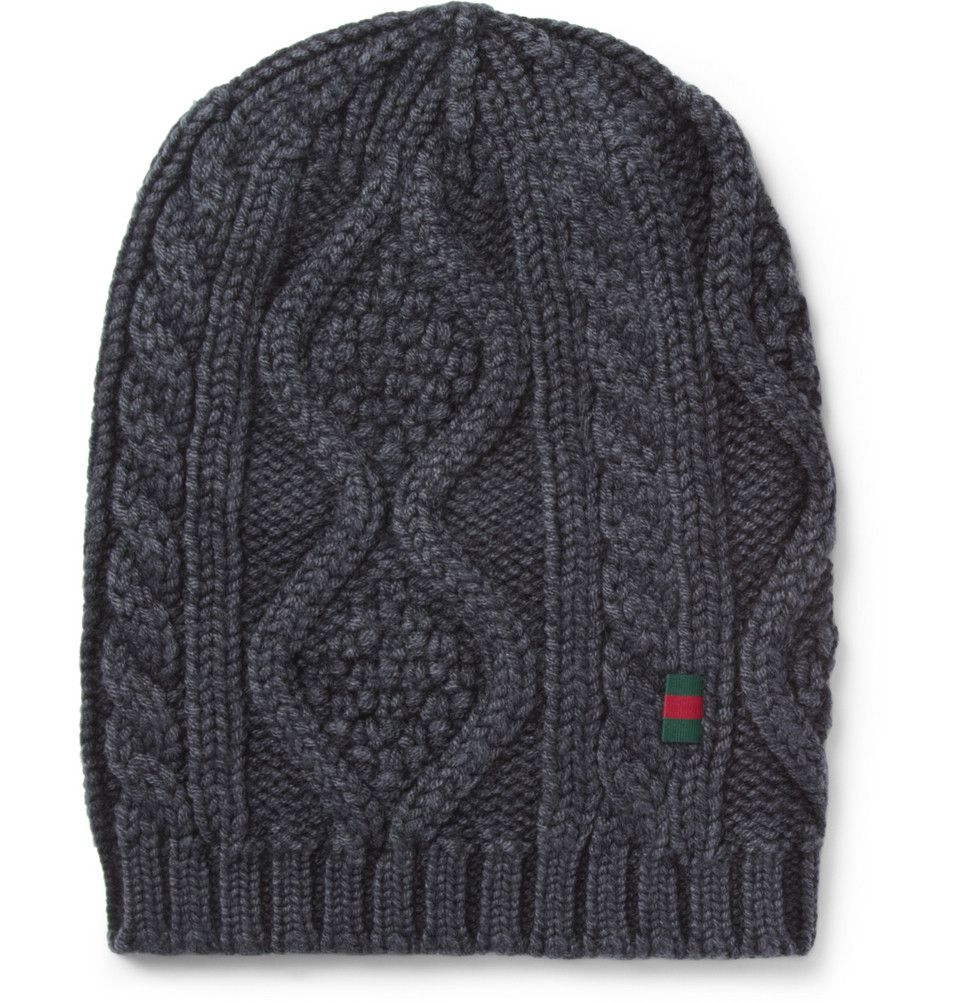 c0cf29e63d8 Gucci Cable Knit Wool Beanie Hat
