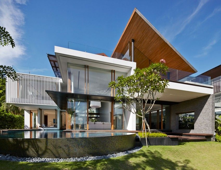 Robert Greg Shand Architects Design A Spectacular Contemporary Home In Singapore Architecture House House Designs Exterior House Exterior