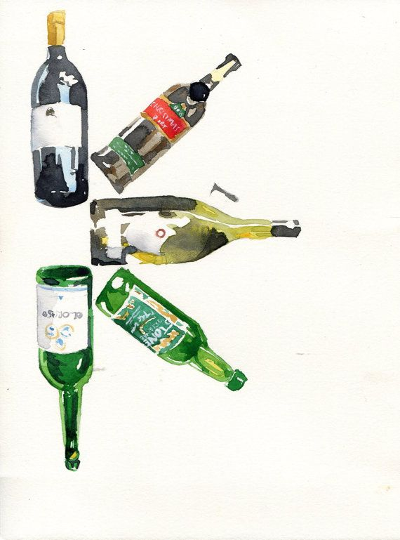 Watercolour Wine Bottles Blank Greeting Card Bottle Drawing