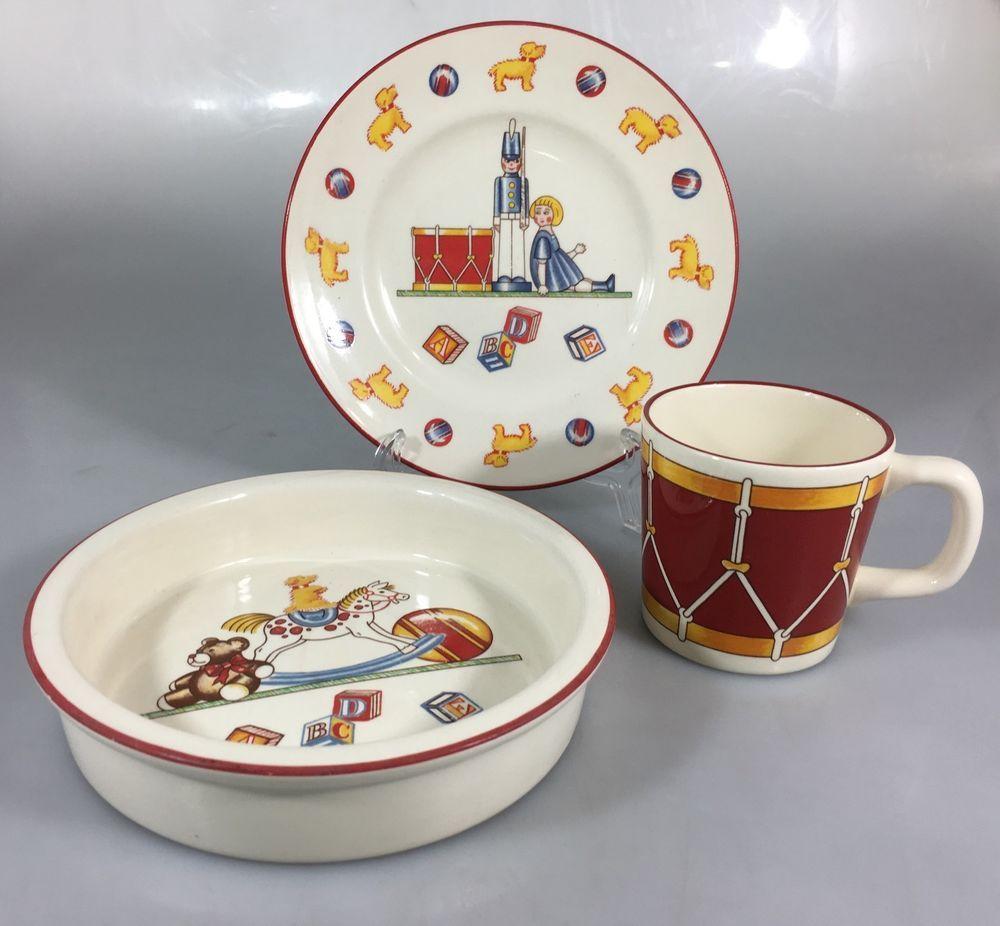 Tiffany Co Toys Masons 3 Pieces Baby Child Dish Set Plate Bowl Mug Toy Soldier Tiffanyco Childrens Dish Sets Plates Childrens Dishes