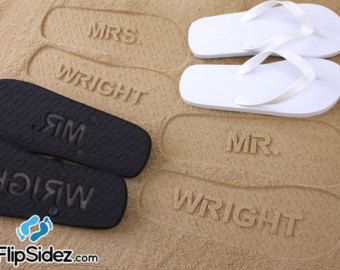 edccfb148 Custom Wedding Flip Flops - Personalized Name Sandals for Wedding ...
