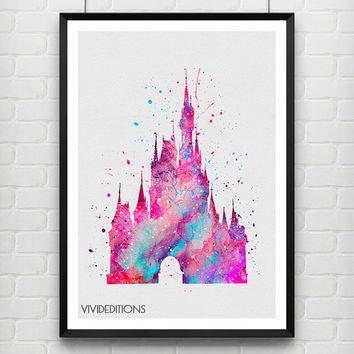 Cinderellas castle disney watercolor art print princess poster baby nursery wall art home