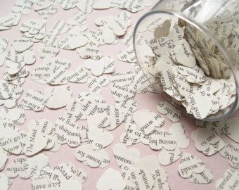 Delicate hearts hand punched from Harry Potter Novels