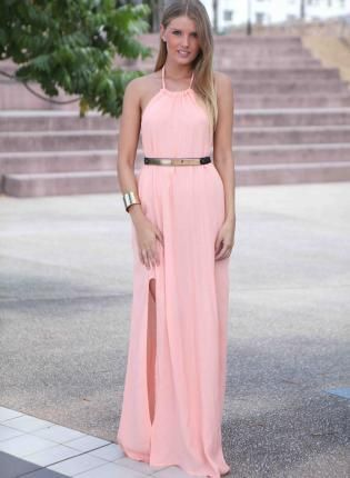whatgoesgoodwith.com light-pink-maxi-dress-04 #cuteoutfits | All ...