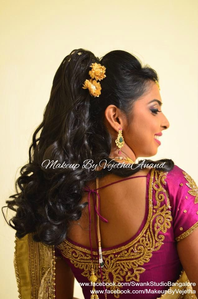 Hairstyles For Long Hair On Saree : Our client veda is all dolled up for her sister in laws muhurtam