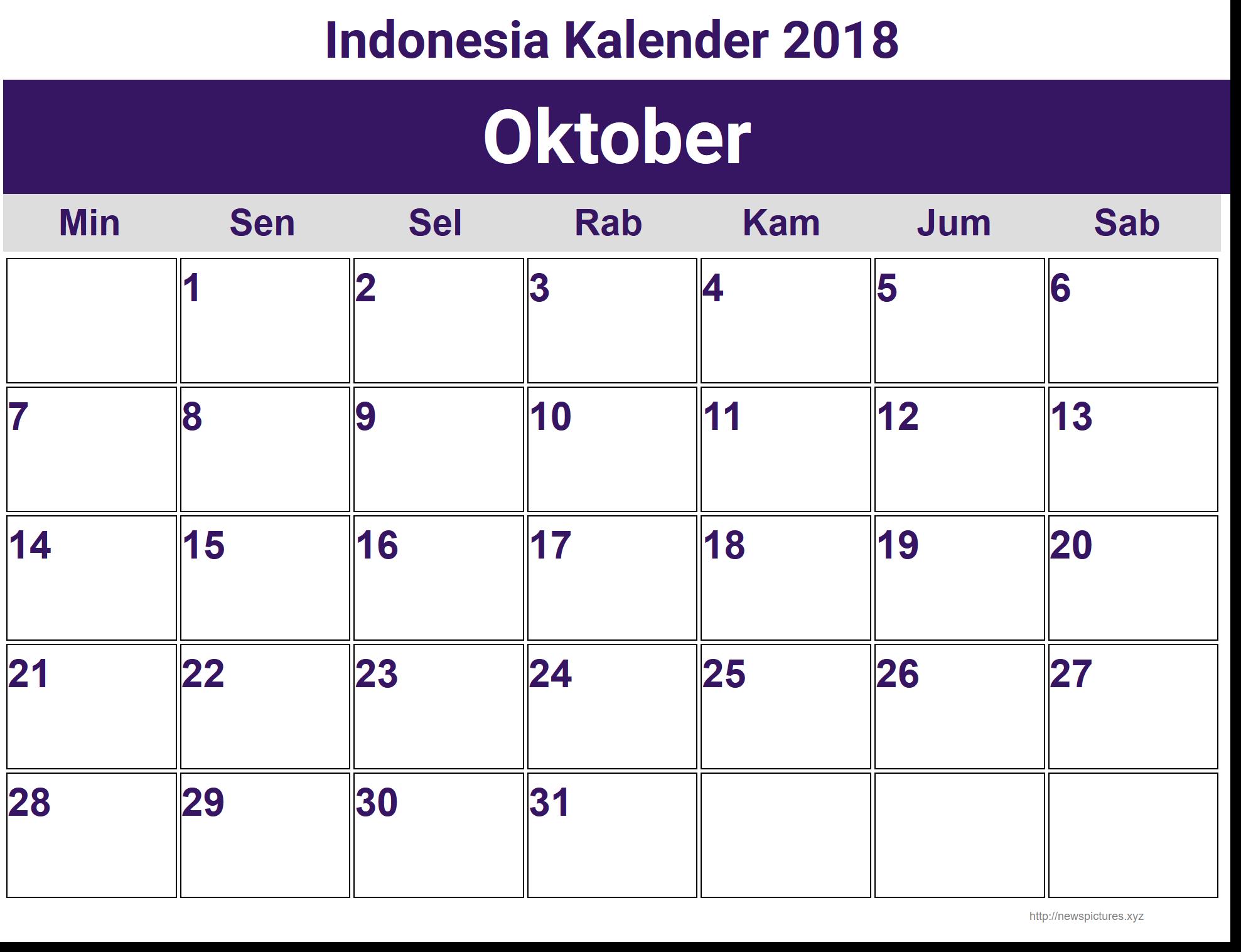 Bekend Image for Oktober Indonesia Kalender 2018 | kalender | Pinterest  IQ-09