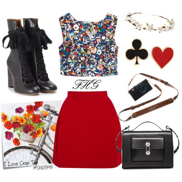 I Love Crop Top #042548 by fashionhuntergirl on Polyvore featuring Saloni, Delpozo, Chloé, Balenciaga, Alison Lou, Cult Gaia, Ballard Designs, Post-It, croptop and getaway
