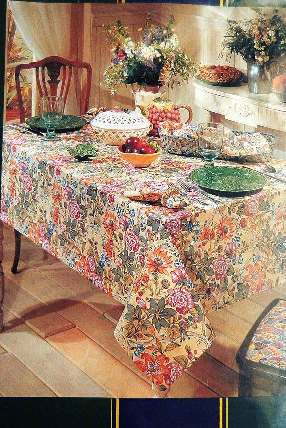 Vintage Charter Club 100 Cotton Floral Chintz Table Linens Oblong Tablecloth Vintage Tablecloths Cottage Chic