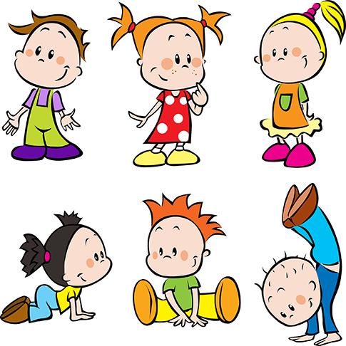 Clipart de niños y escolares tipo cartoon, imagen vectorial ...