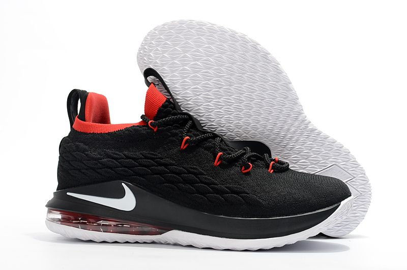 Nike Lebron 15 Low Black White Red Men S Basketball Shoes Red Basketball Shoes Nike Kd Shoes Basketball Shoes On Sale