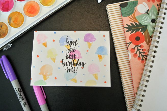 watercolour birthday card. have the best birthday ever! with icecream print
