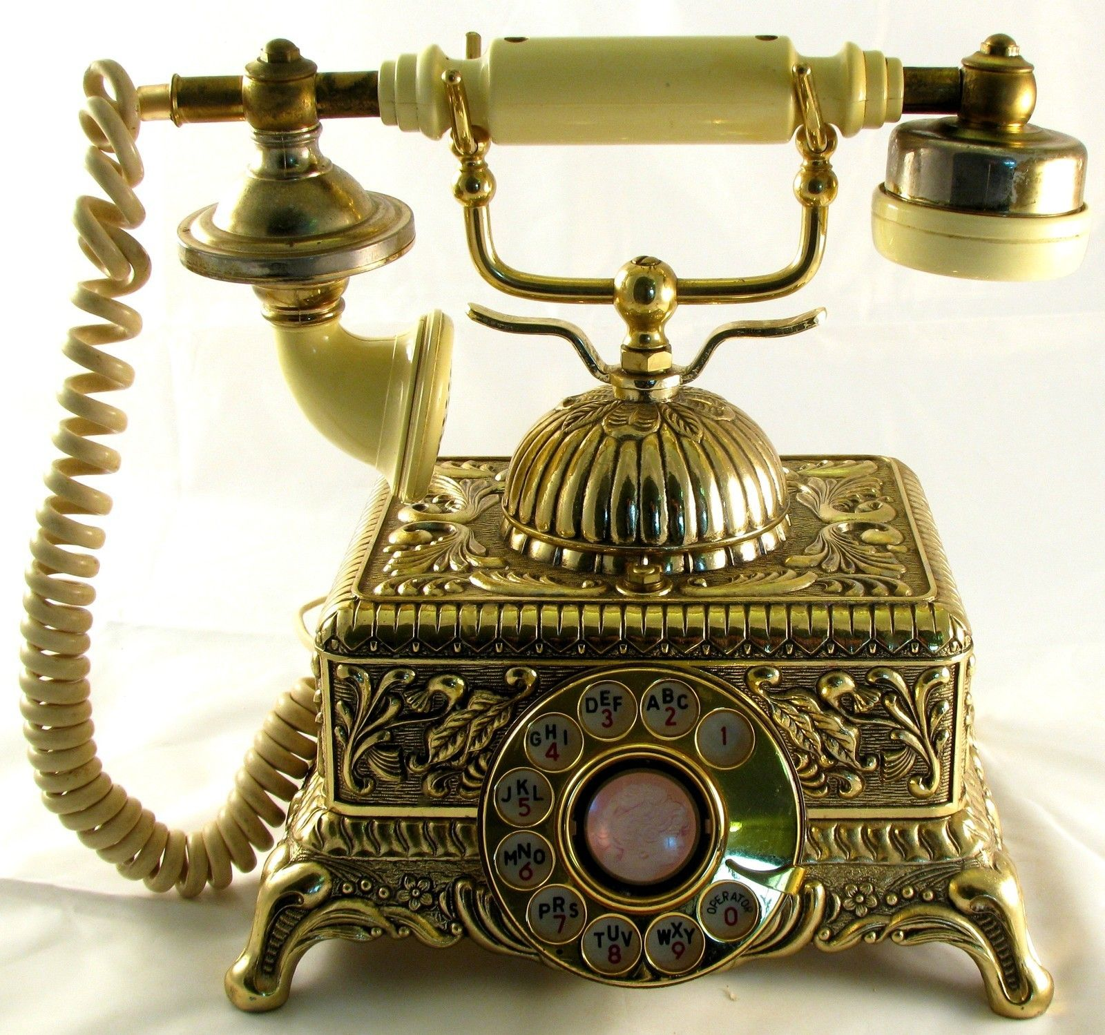 Brass Vintage Rotary Telephone French Style Victorian