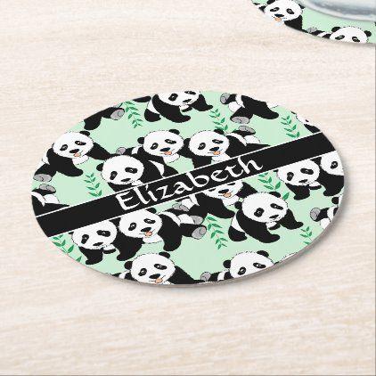 Panda Bears Graphic Pattern to Personalize Round Paper Coaster | Zazzle.com #babypandabears
